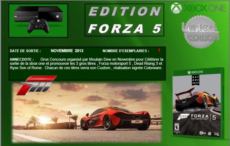 XBOX ONE : Edition FORZA MOTORSPORT 5 Forza510