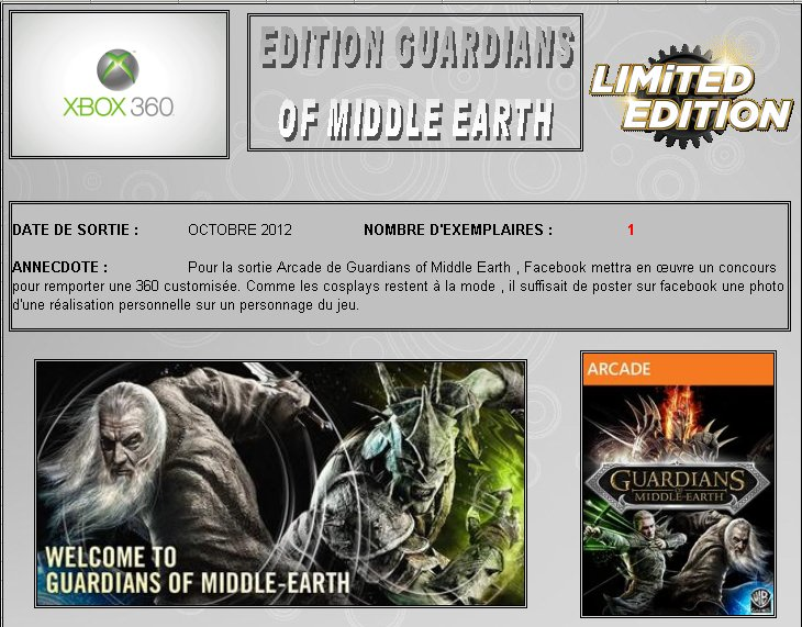 XBOX 360 : Edition GUARDIANS OF MIDDLE EARTH Guardi10