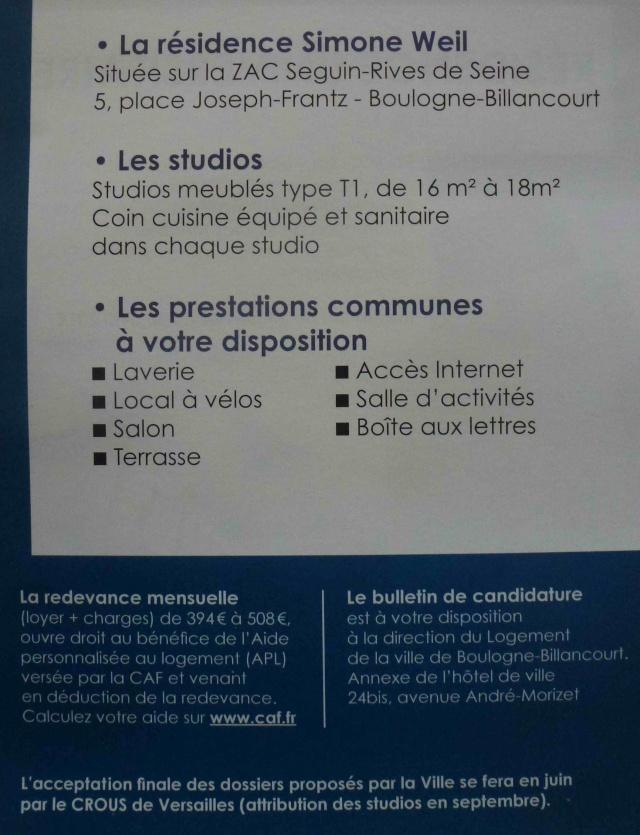 Informations sur la résidence étudiante Simone Weil  P1160032