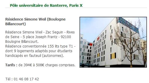Informations sur la résidence étudiante Simone Weil  Raside10