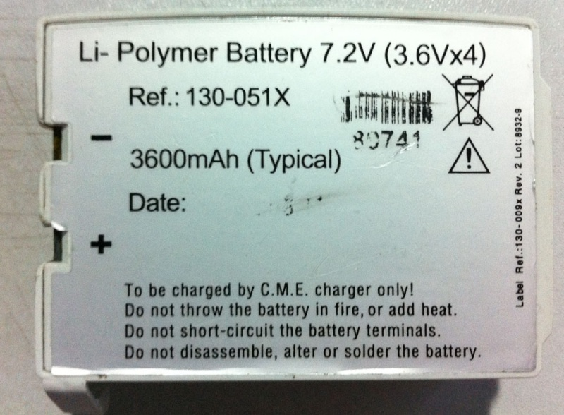 CME BodyGuard 595™ Infusion Pump Battery 130-051X MD-BY19 Md-by110