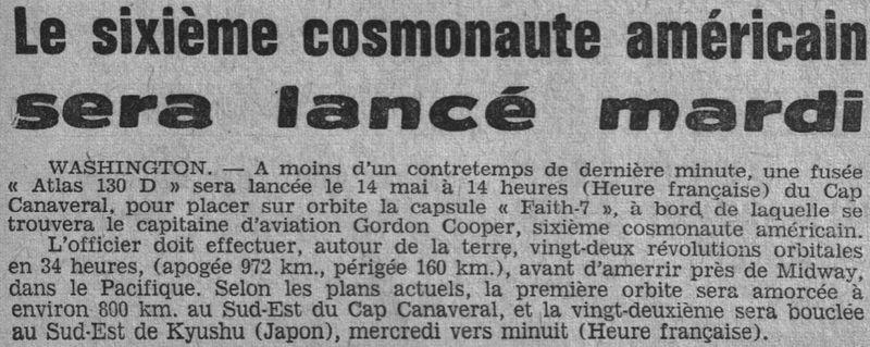 15 mai 1963 - Mercury Atlas  3 - Gordon Cooper 63051110