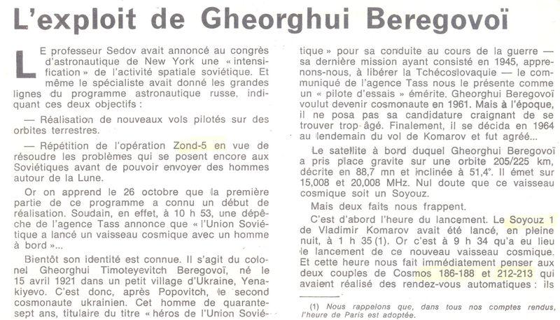 26 octobre 1968 - Soyouz 3 - Gheorghui Beregovoï 68110210