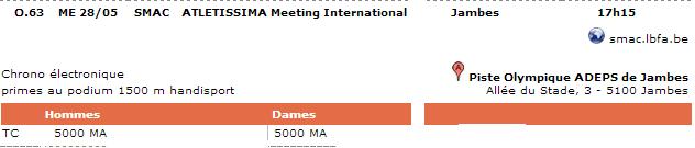 Meeting Athletissima (5000m); Namur (B) : 28 mai 2014 Athlet11