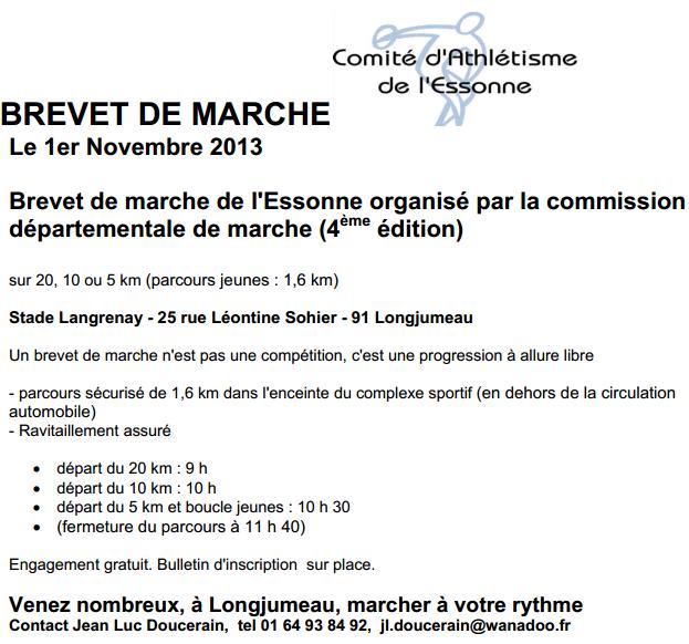 Brevet de marche 5/10/20km à longjumeau: 01/11/2013 Brevet10
