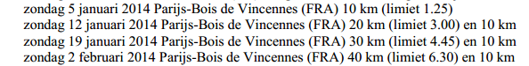 Brevets de Vincennes: 10, 20, 30, 40 km: janv-fév 2014 Brevet11