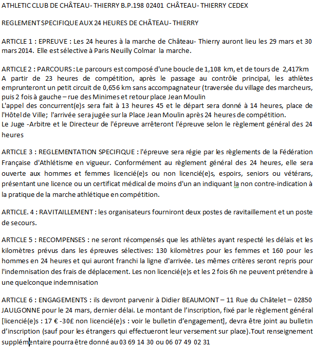 24 heures de Chateau-Thierry: 29-30 mars 2014 Chatea14