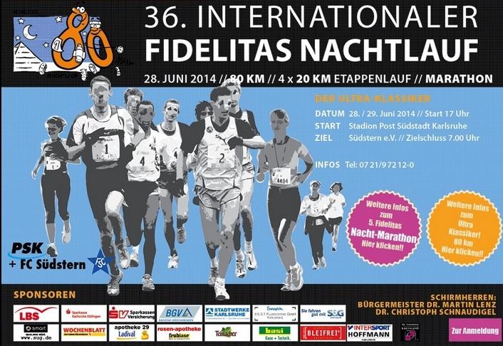 "80km; ""Fidelitas Nachtlauf""; Karlsruhe (D); 28-29/6/2014 Fideli10"
