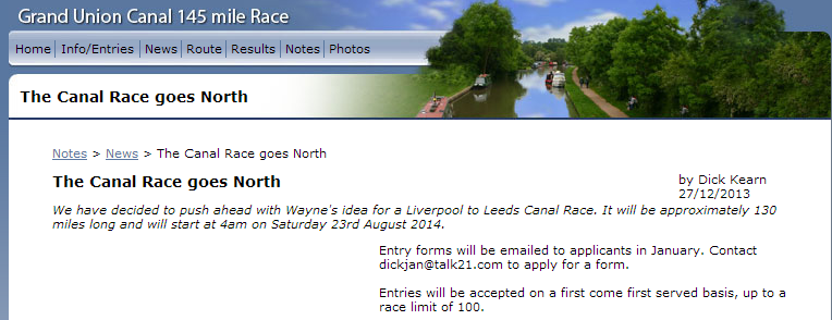 Grand Union Canal Race; 235km/45h; 24 mai 2014; 110 places  Liverp10