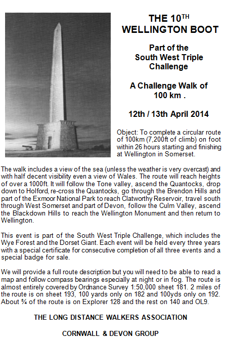 Wellington Boot (GB), 100km, 150 places ; 12-13 avril 2014 Wellin10