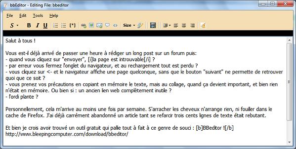 Un outil pour rédiger vos articles offline : BBeditor Bbed10