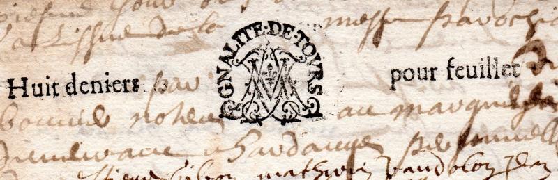 timbres fiscaux du XVII et XVIII eme siècle de la Généralité de Tours 1405510