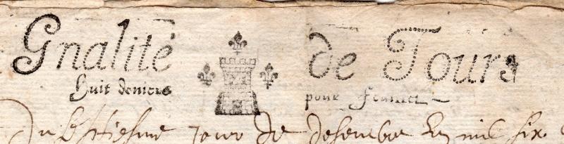 timbres fiscaux du XVII et XVIII eme siècle de la Généralité de Tours 1505610