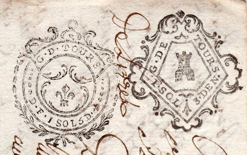 timbres fiscaux du XVII et XVIII eme siècle de la Généralité de Tours 604610