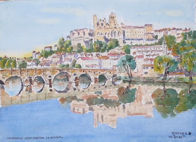 Remake aquarelle de Béziers  Cathad13