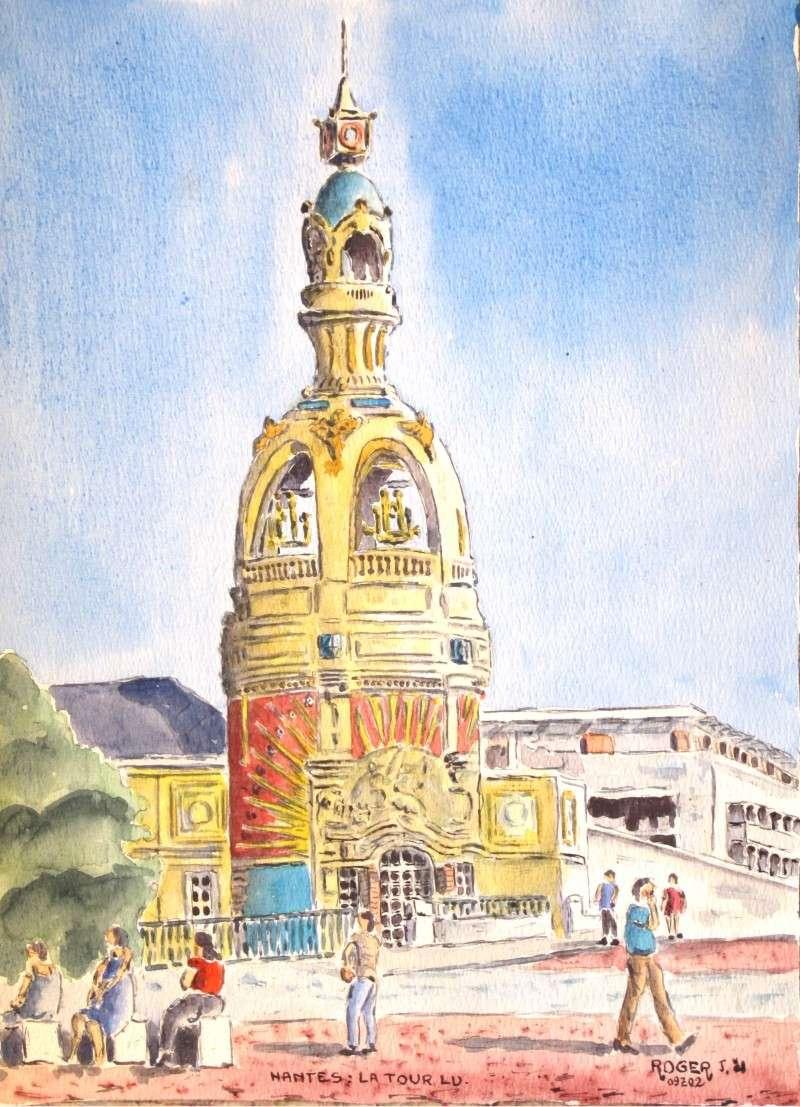 Aquarelle de la Tour LU de Nantes d'après une carte postale reçue .  Tour_l10