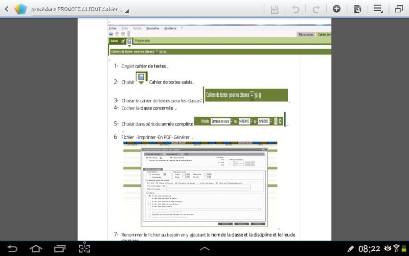 Imprimer son cahier de texte dans Pronote Screen10