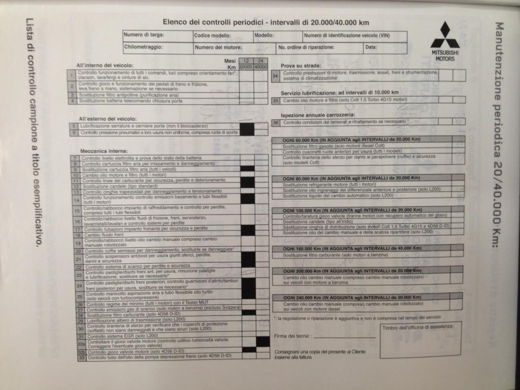 tagliando - Controlli periodici e manutenzione previsti nel Tagliando Contro13