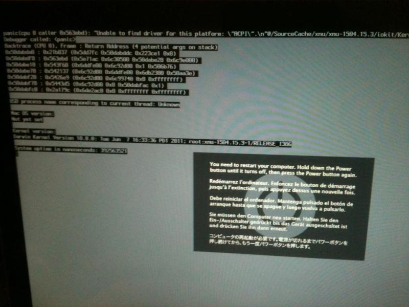 Solution PC sur un mac Kernel10