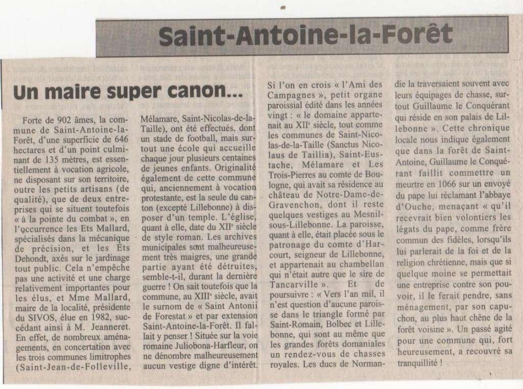 Histoire des communes - Saint-Antoine-la-Forêt Histoi24