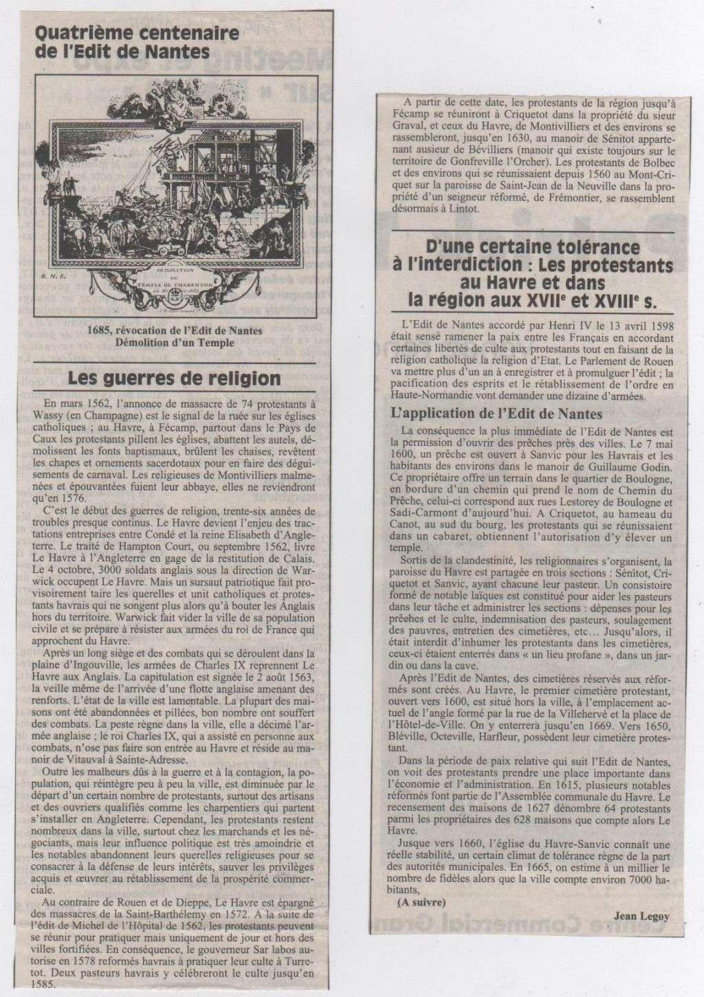 Histoire des Protestants Havrais par Jean LEGOY Protes11