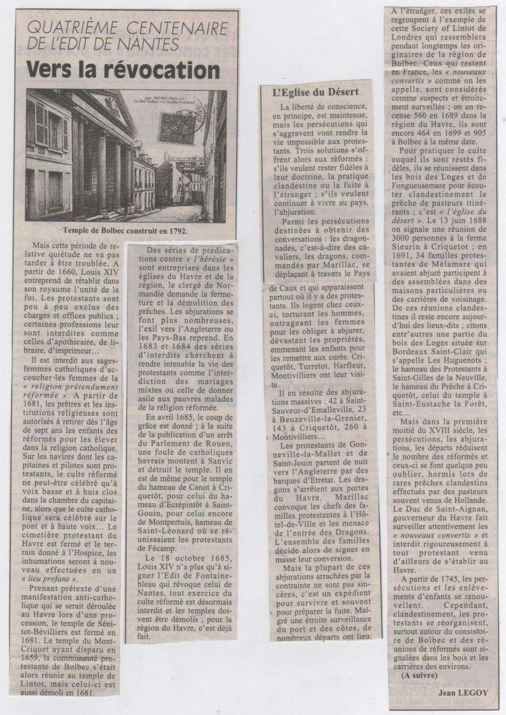 Histoire des Protestants Havrais par Jean LEGOY Protes12