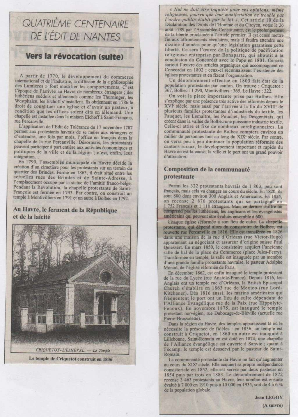 Histoire des Protestants Havrais par Jean LEGOY Protes13
