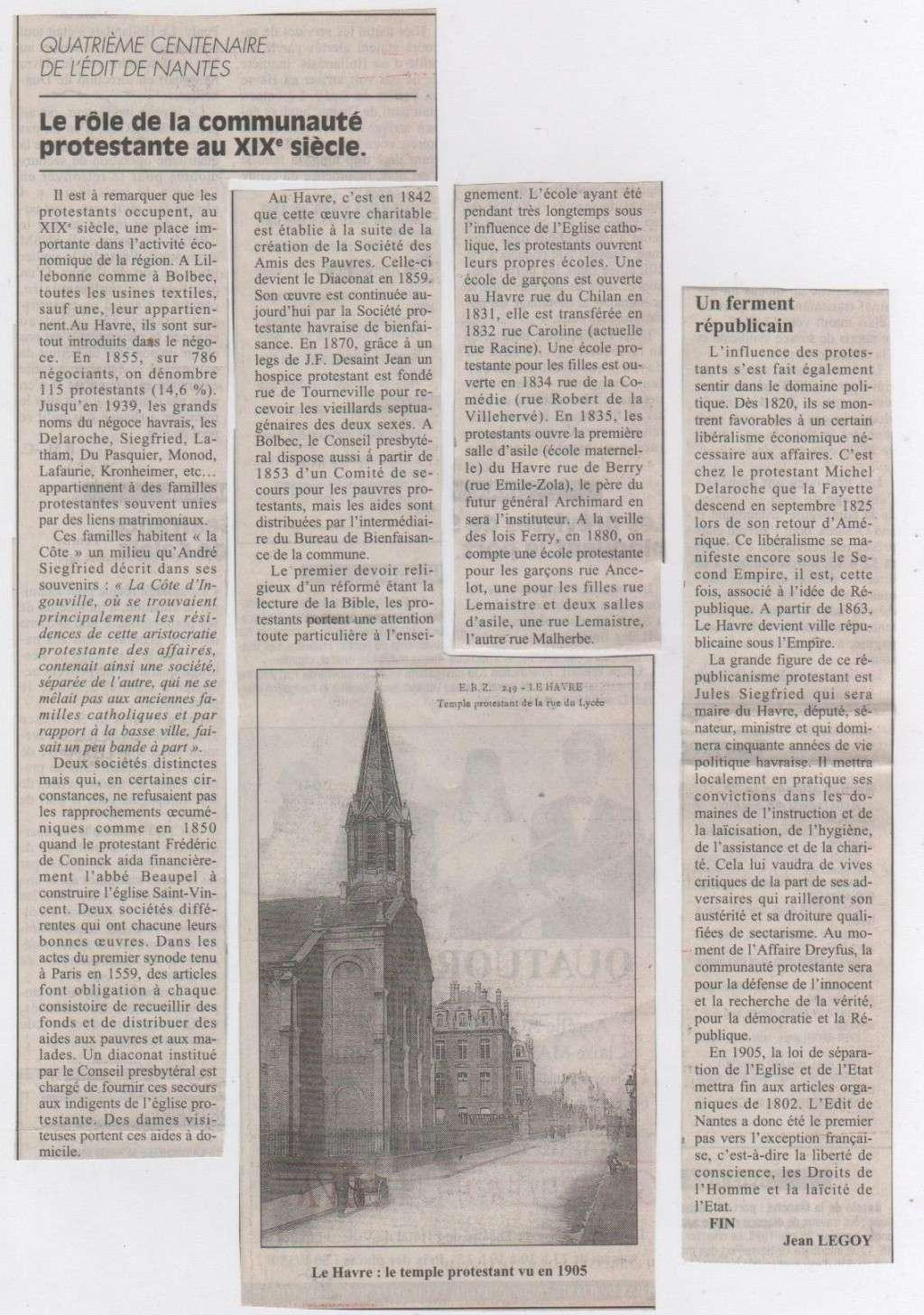 Histoire des Protestants Havrais par Jean LEGOY Protes14