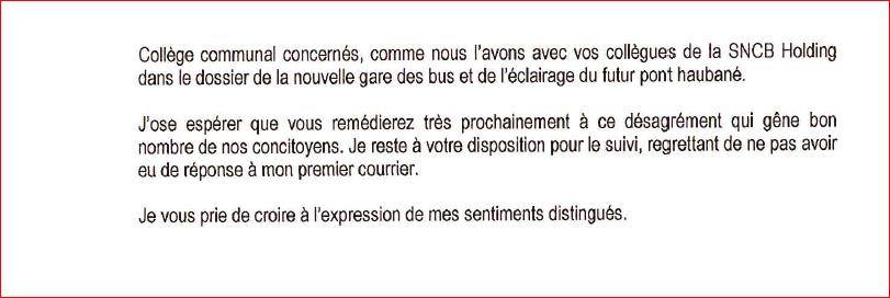 """""""Le pont bleu"""" réponse de l'ASCEN, Députés et bourgemestre 210"""