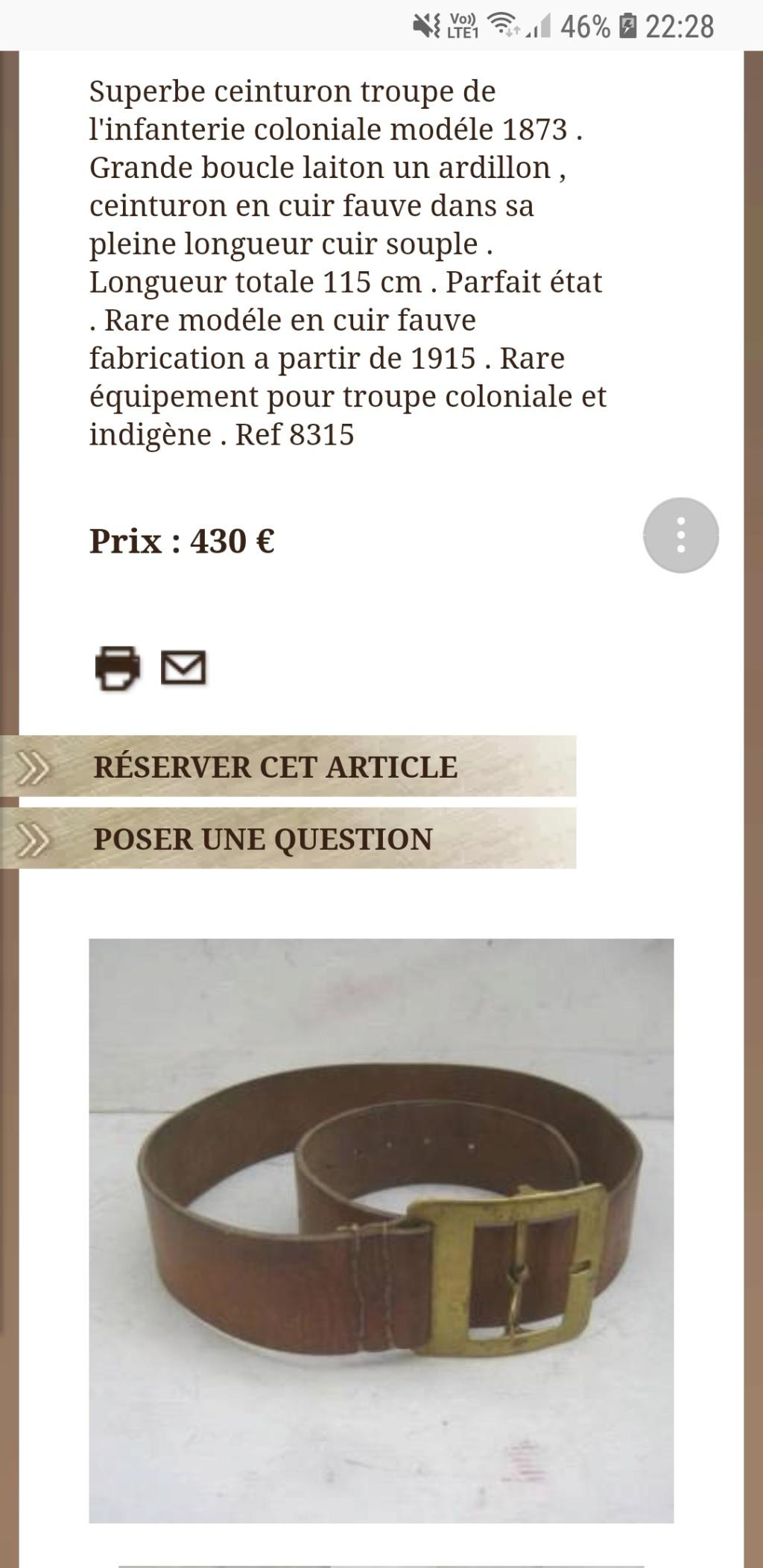 CEINTURON FRANCAIS TROUPE COLONIALE MODELE 1873 Screen10