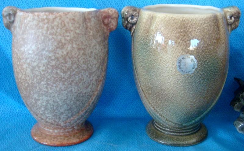 PV-110. Rams Head vase in stonehenge glaze Dsc00411