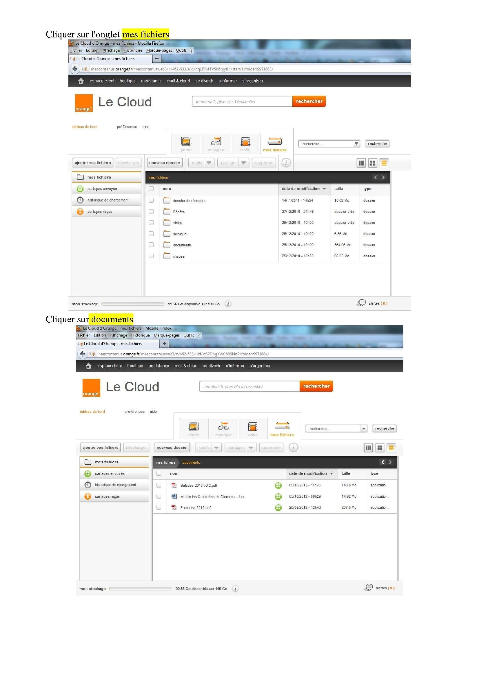 Espace de stockage et partage de gros fichiers ..avec Orange Espace12