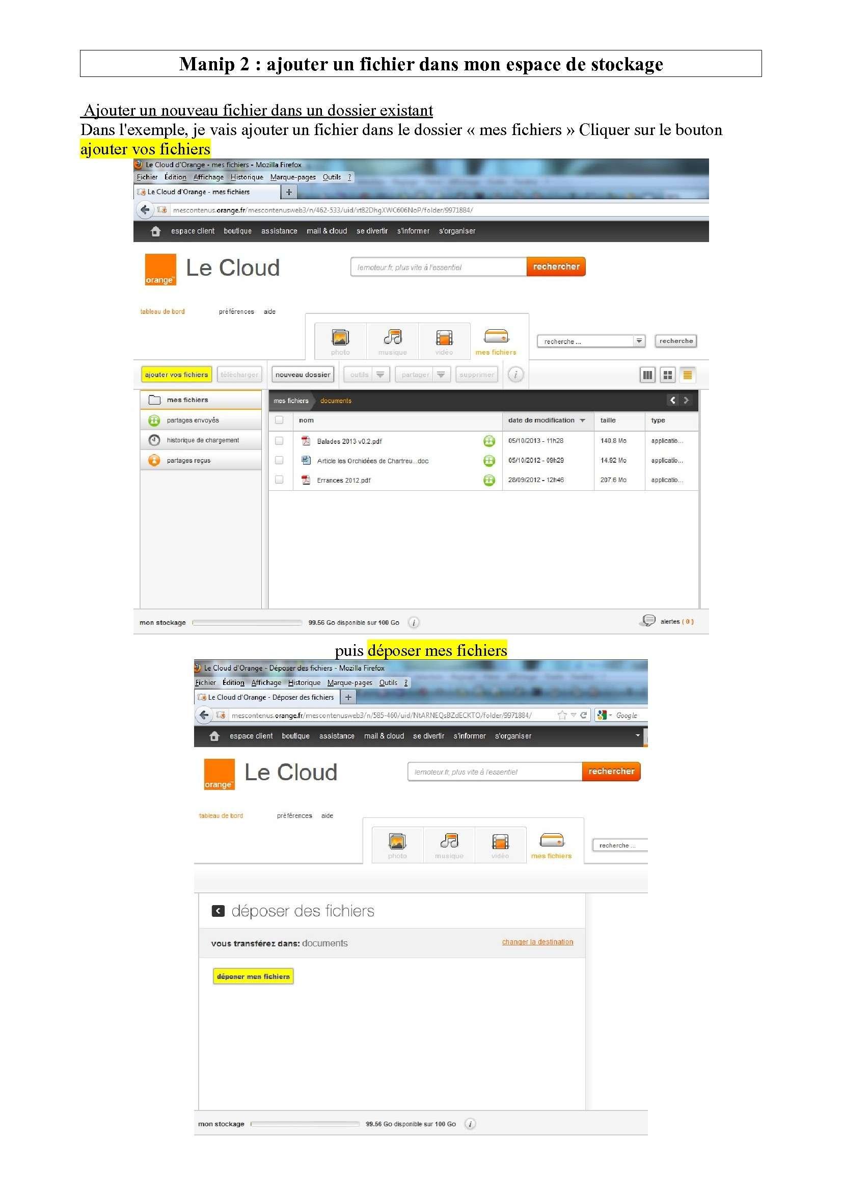 Espace de stockage et partage de gros fichiers ..avec Orange Espace13