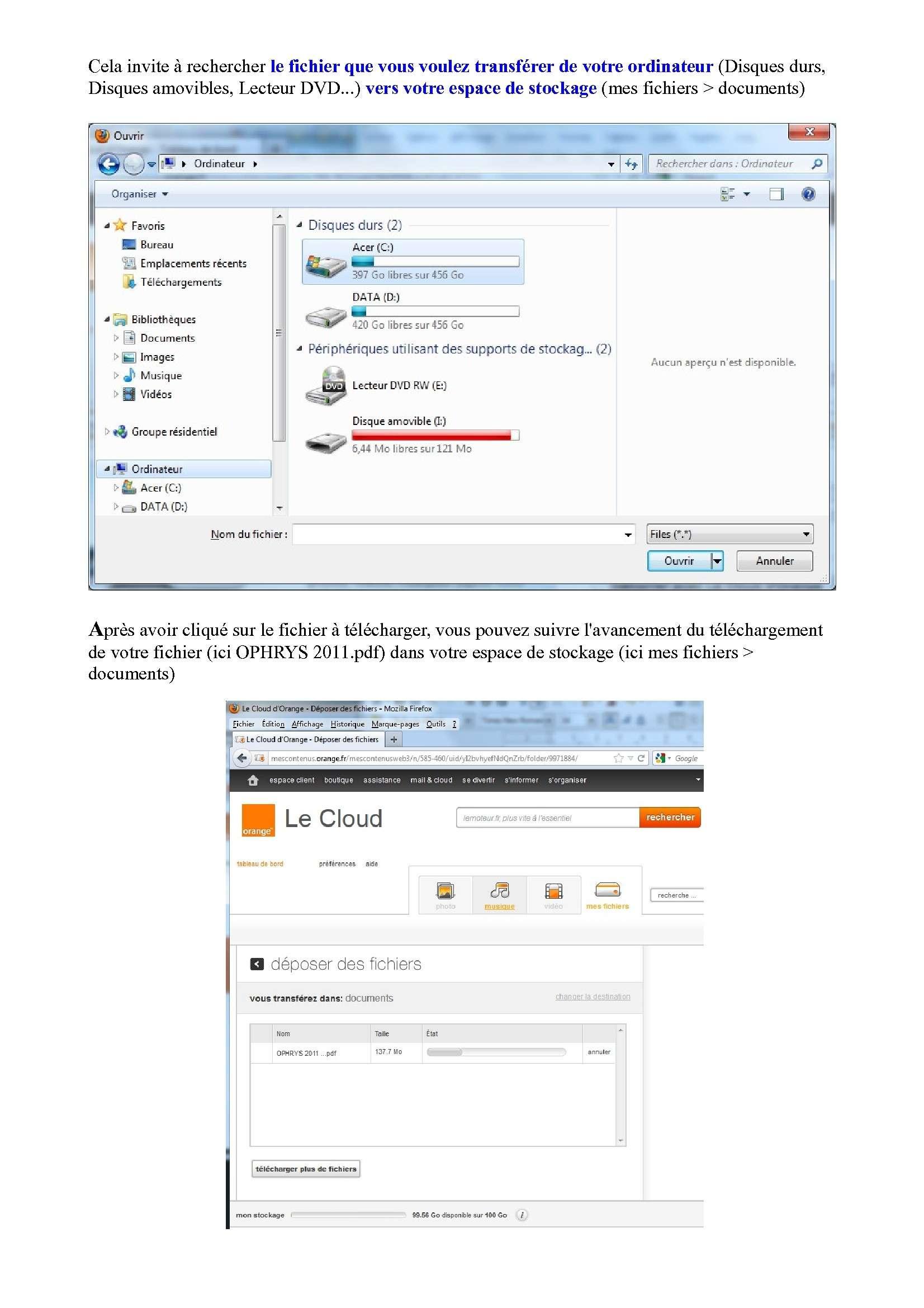 Espace de stockage et partage de gros fichiers ..avec Orange Espace14