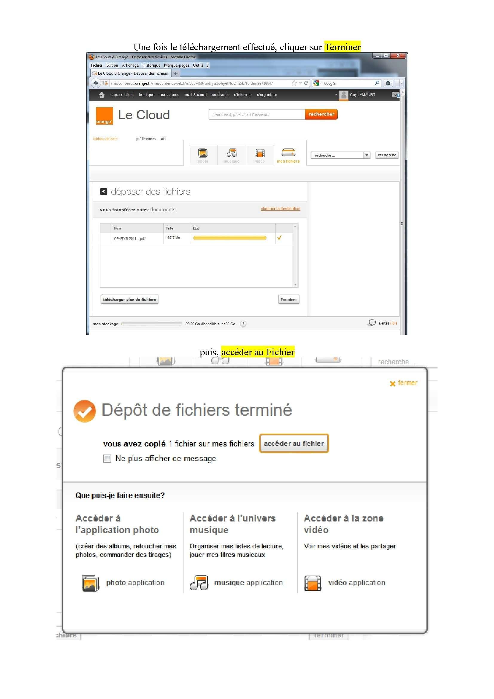 Espace de stockage et partage de gros fichiers ..avec Orange Espace15