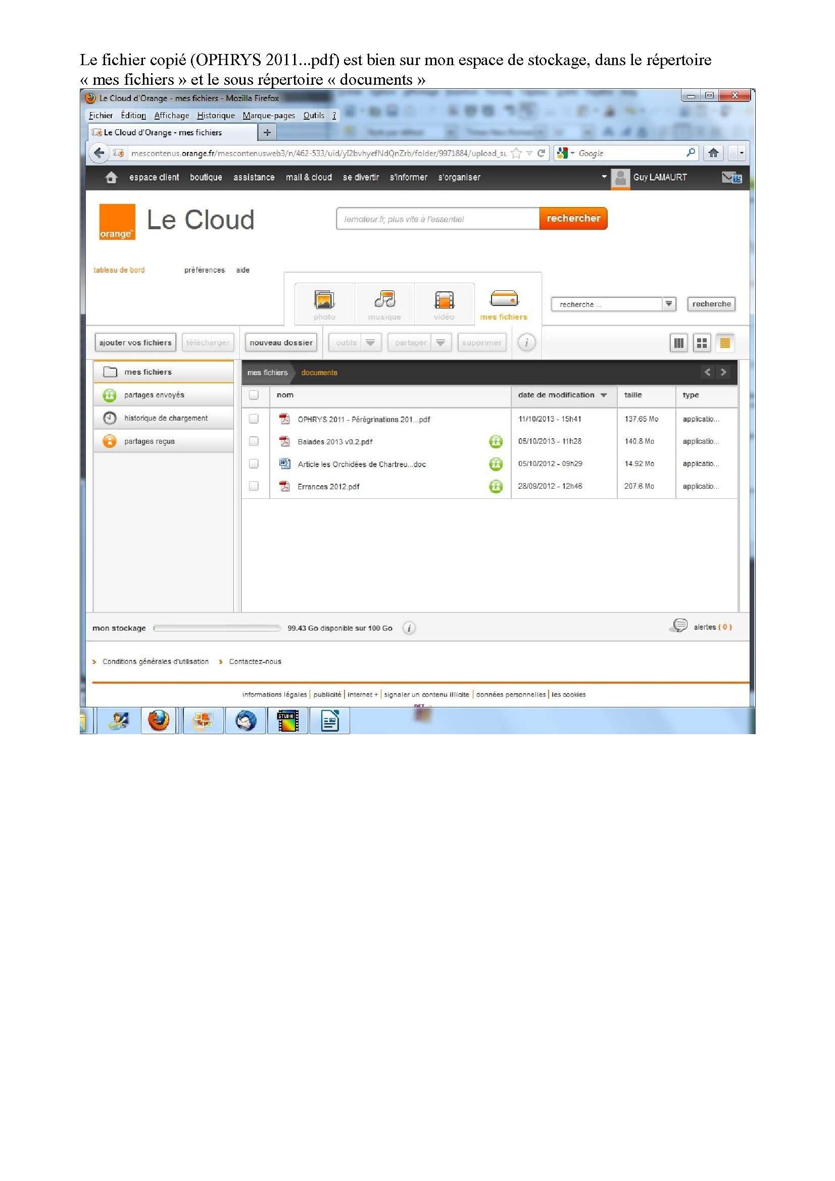 Espace de stockage et partage de gros fichiers ..avec Orange Espace16