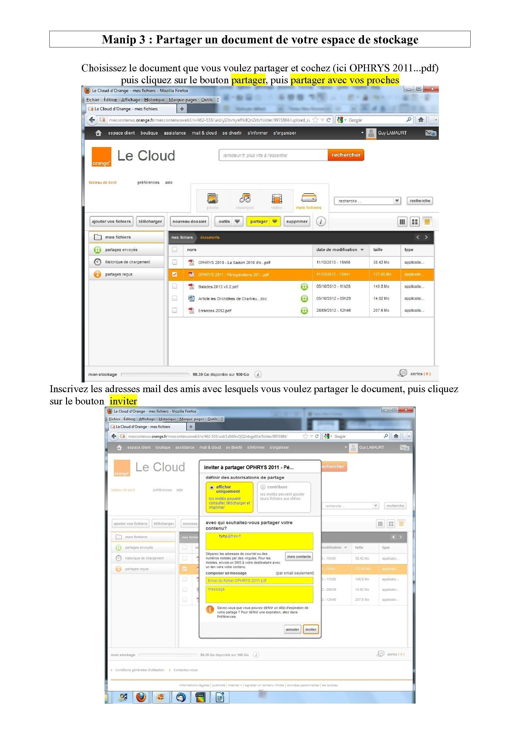 Espace de stockage et partage de gros fichiers ..avec Orange Espace17