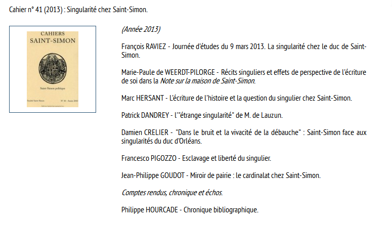 C.R.C.Versailles : La singularité chez le duc de St-Simon    Cahier11