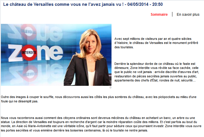 Zone interdite Versailles sur M6 le 4 mail 2014 M611