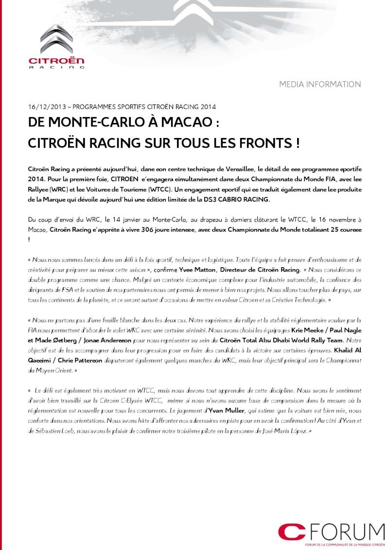 [COMMUNIQUE] Citroën Racing - Le programme complet pour 2014 112