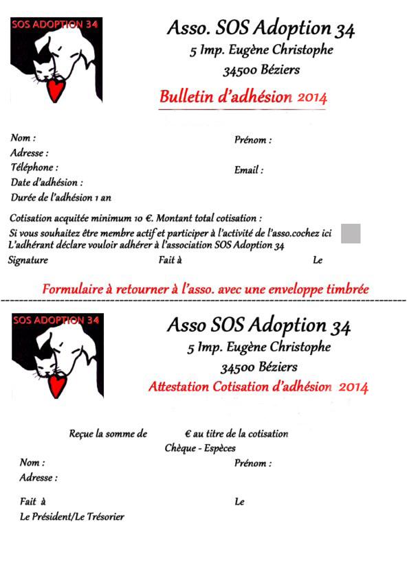 Bulletin adhésion 2014 SOS ADOPTION 34  Bullet10