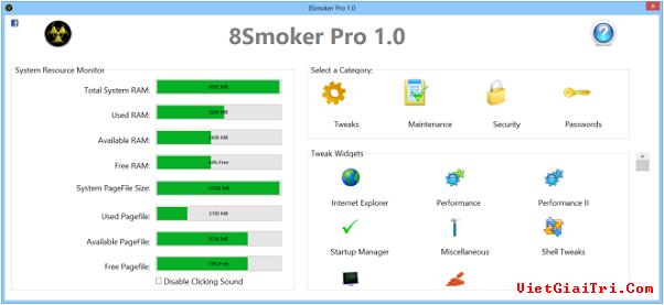 8Smoker Pro mang hàng tấn công cụ tối ưu hiệu năng cho Windows 8 8smoke11