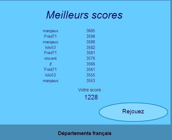 Les départements. Score10
