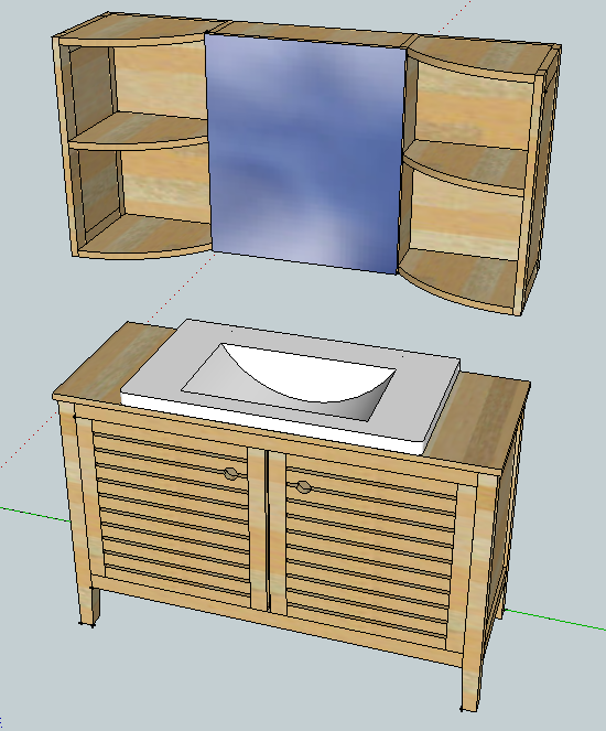 Meubles de salle de bain en robinier Face110