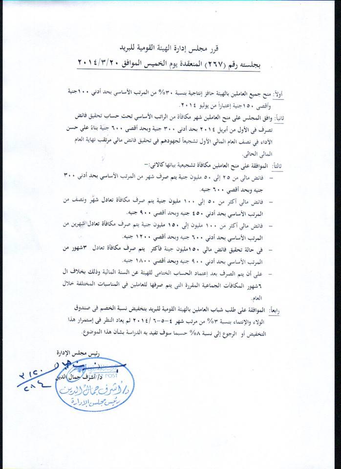 قرار مجلس الادارة اليوم الخميس 20/3/2014 19203610