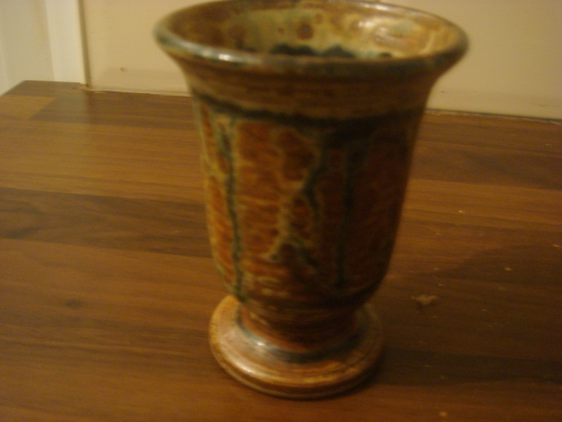 """Small """"Treacle Glazed"""" Goblet...Studio Pottery..signed imp or iwp.. Copied30"""