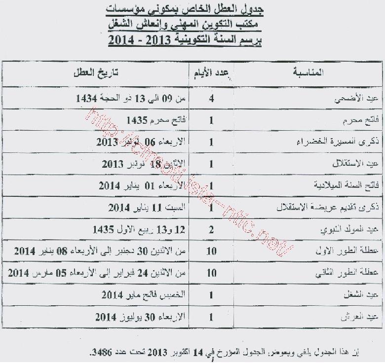 جدول العطل الخاص بمؤسسات مكتب التكوين المهني و إنعاش الشغل 2013/2014 المعدل Ofppt10