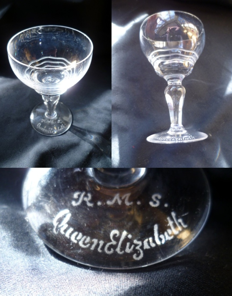 Cut design champagne glass etched R.M.S. Queen Elizabeth to base Aglass10