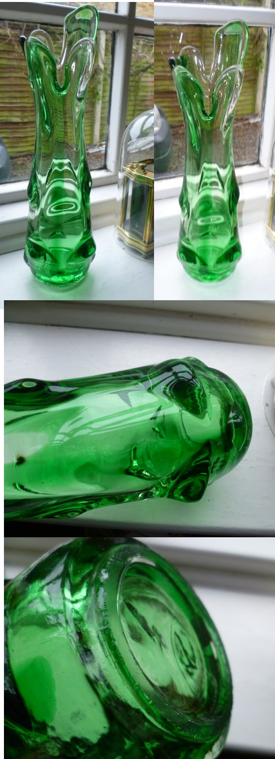 Is this a Sklo Union Vase - Green and clear Knobbled body with a flared top Asklo10