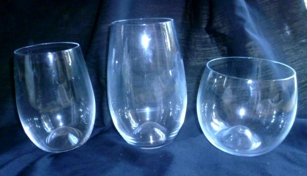 Contemporary Dartington Stemless glasses with dimple base - Riedel 'O' like P1050110